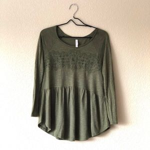 Target Long sleeve embroidered baby doll top